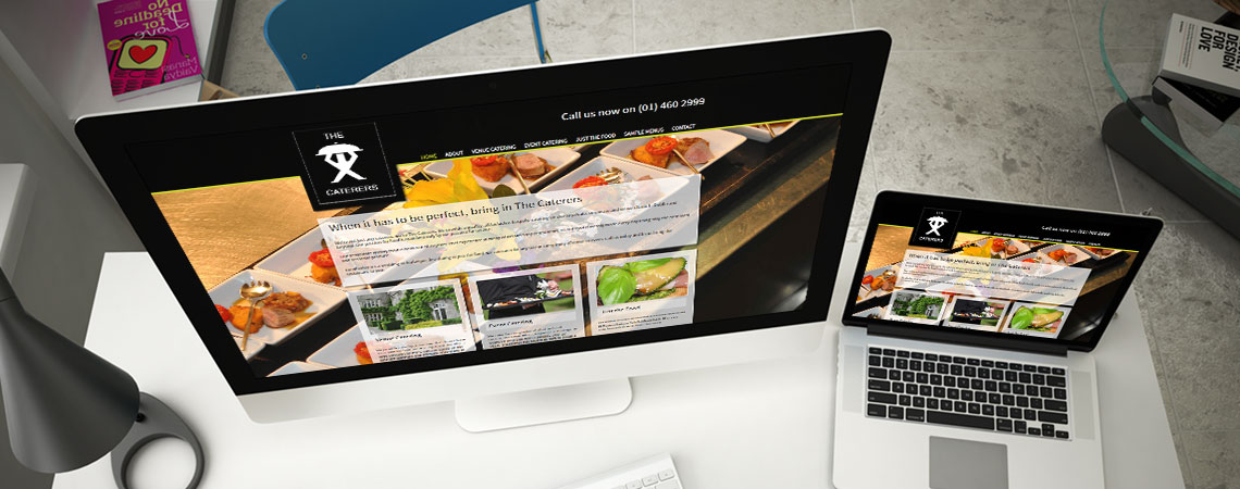 image of The Caterers website on desktop and laptop
