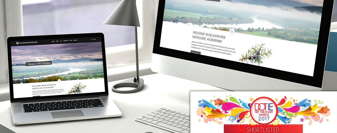 image of Blackwater Distillery website on desktop and laptop