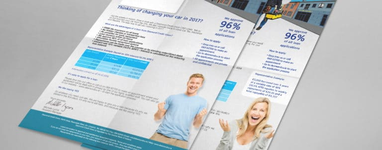 image of Desmond's Credit Union branded Direct Mail letters