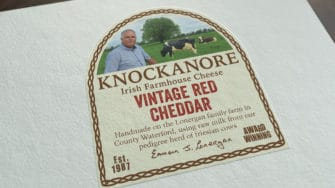 image of Knockanore Cheese product label vintage red cheddar