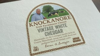 image of Knockanore Cheese product label vintage white cheddar