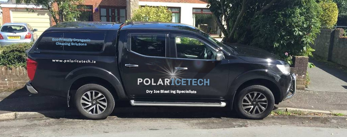 image of Polar Ice Tech branding on navy car