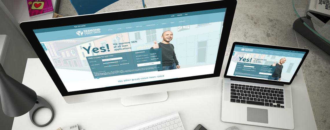 image of Desmond Credit Union website on desktop and laptop