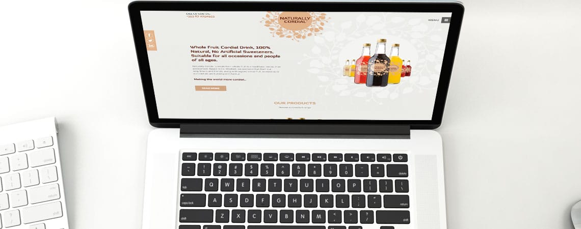 image of Naturally Cordial website on laptop computer