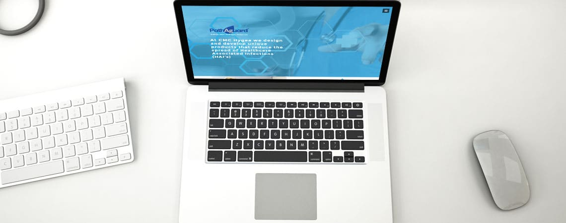 image of CMC Hygea website on laptop computer