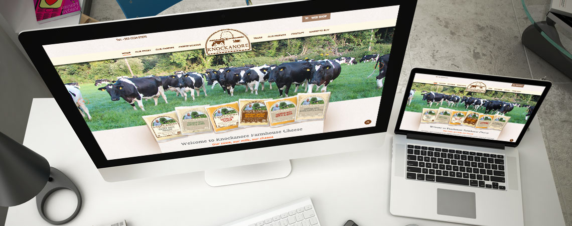 image of Knockanore Cheese website on desktop & laptop computer