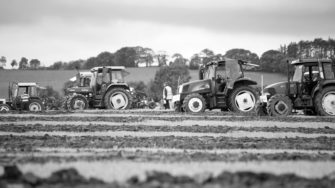 image of Peter O'Connor & Son tractors black & white