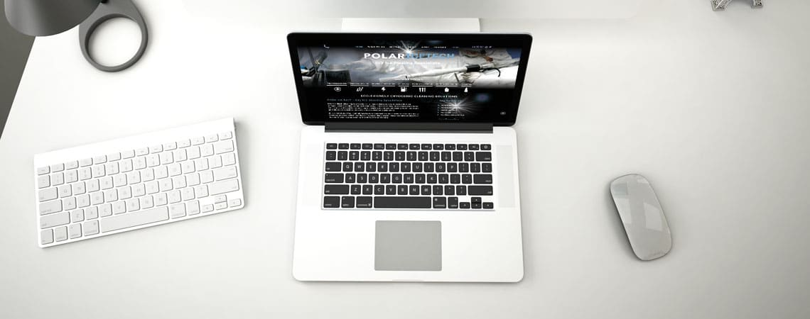 image of Polar IceTech website on laptop computer