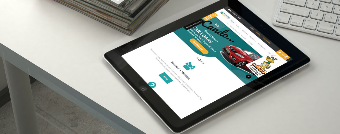 image of St. Canice's Credit Union website on tablet device