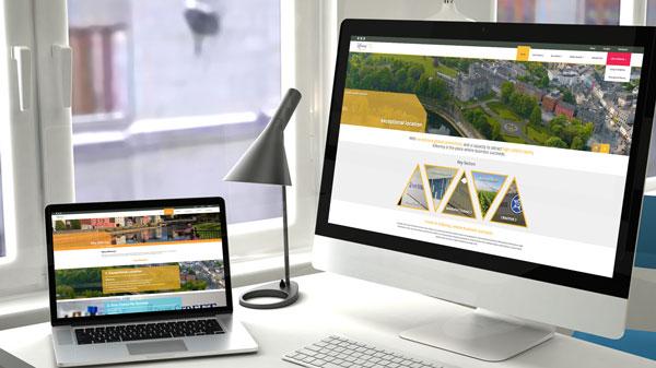 Invest Kilkenny Website on computer screens