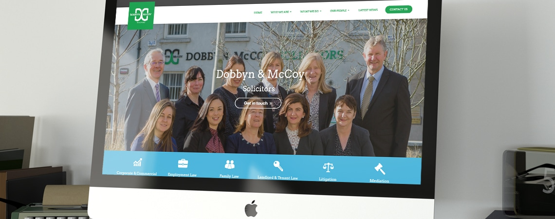 Dobbyn & McCoy website on pc monitor